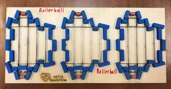 3 Up Wood and Steel Die for Rollerball