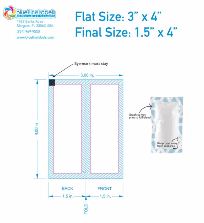 3″ wide x 4″ Tall Sachet Being Filled as Samples